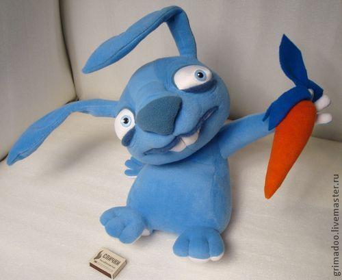 Игрушки животные, ручной работы. Ярмарка Мастеров - ручная работа. Купить заяц с морковкой. Handmade. Синий, игрушка для детей