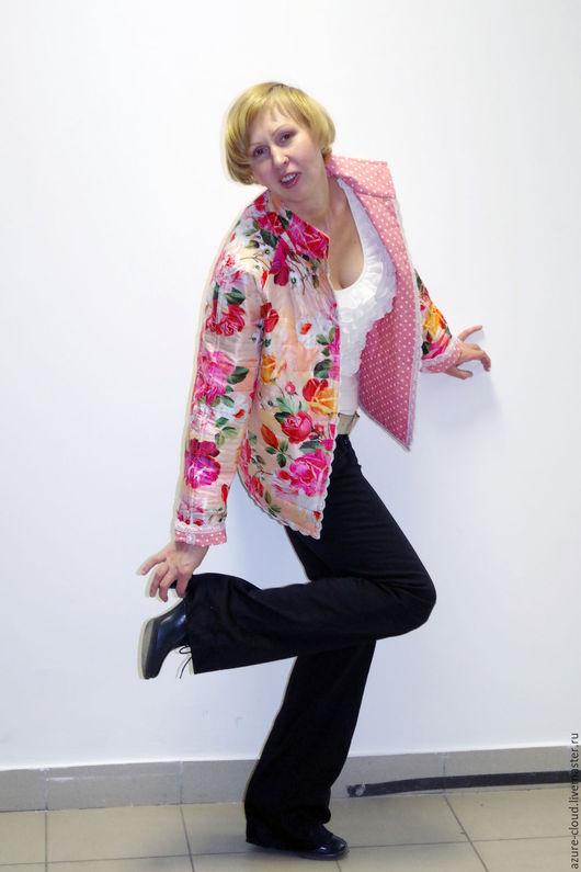 """Верхняя одежда ручной работы. Ярмарка Мастеров - ручная работа. Купить Двухсторонняя стеганая куртка """"Цветы"""". Handmade. Комбинированный"""