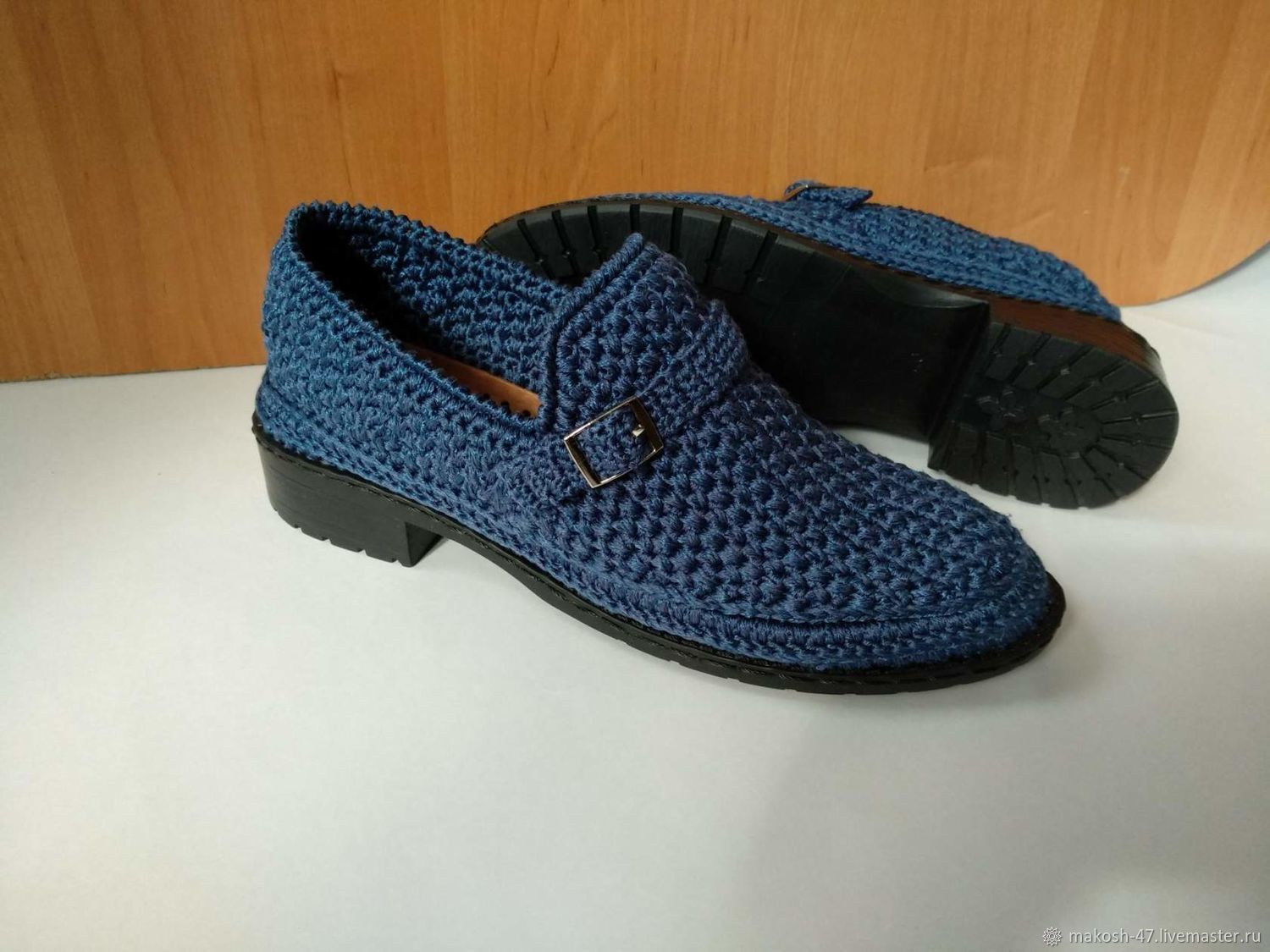 9d86a7682a21a Knitted men's moccasins ( cotton with viscose ) color - marine – shop  online on Livemaster with shipping - IIU75COM | Vyazniki