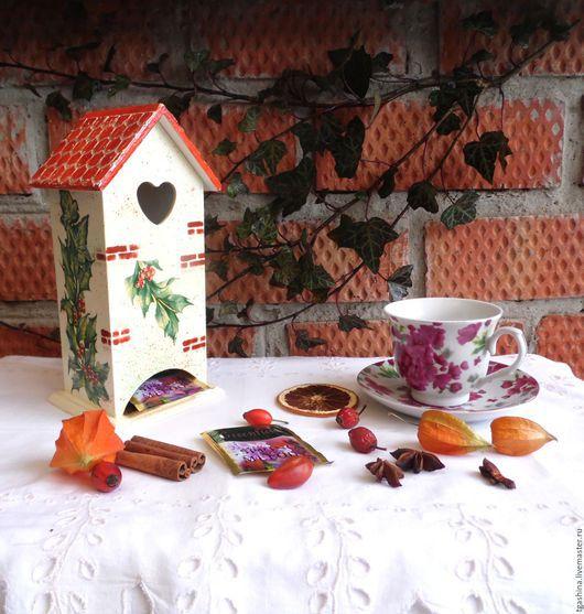 """Персональные подарки ручной работы. Ярмарка Мастеров - ручная работа. Купить Чайный домик """"Остролист"""". Handmade. Комбинированный, салфетка для декупажа"""