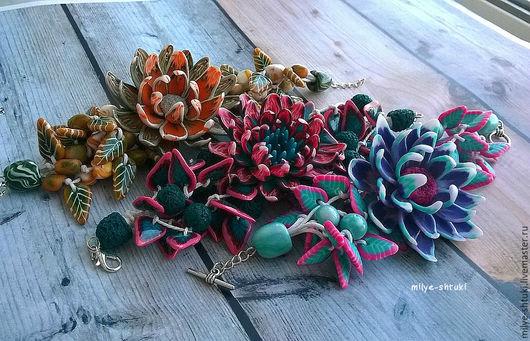 Браслеты ручной работы. Ярмарка Мастеров - ручная работа. Купить Объемные браслеты. Handmade. Комбинированный, полимерная глина