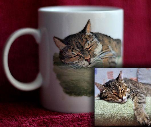 """Кружки и чашки ручной работы. Ярмарка Мастеров - ручная работа. Купить Кружка """"Портрет кошки"""" (0896). Handmade. Кошка, животные"""