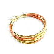 Украшения handmade. Livemaster - original item Orange bracelet, leather bracelet, leather bracelet