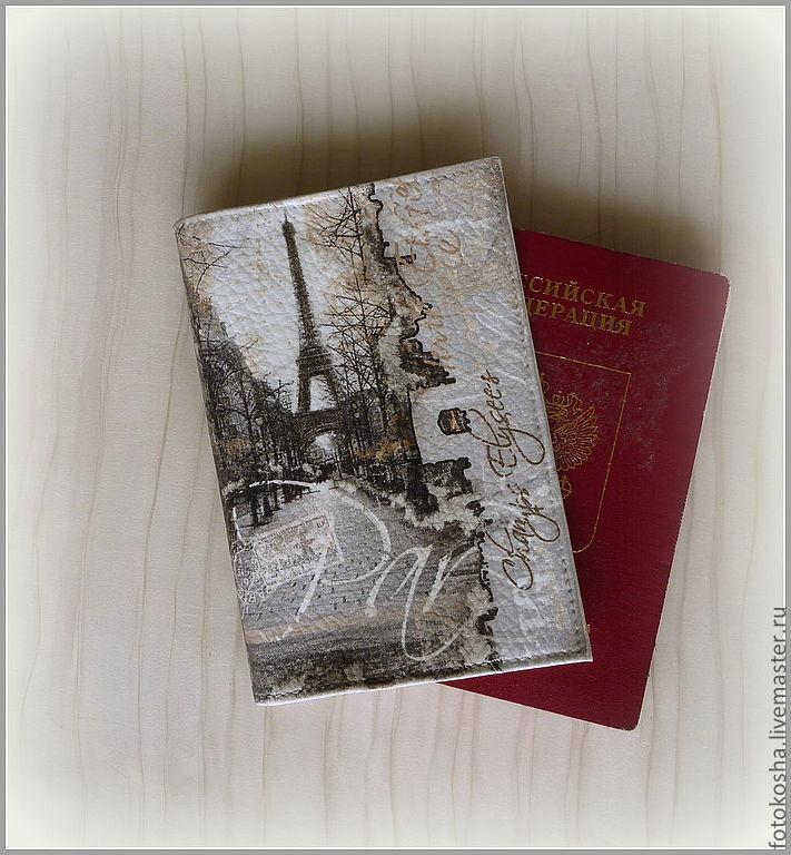 """Обложка для паспорта (автодокументов) """"Обрывки сна. Париж"""". Декупаж, Обложка на паспорт, Москва,  Фото №1"""