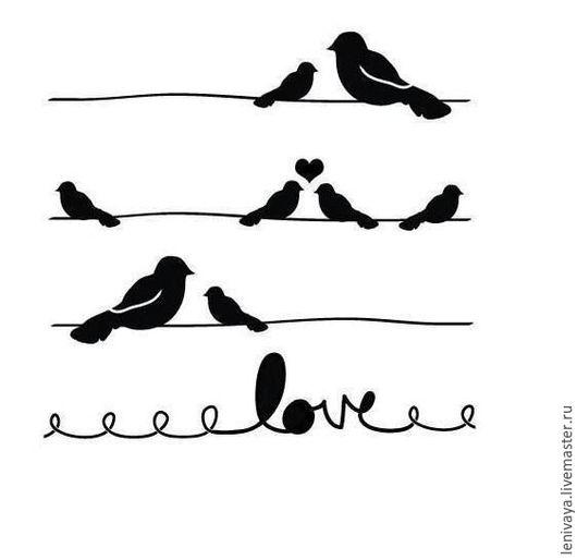 Декупаж и роспись ручной работы. Ярмарка Мастеров - ручная работа. Купить Трафарет-маска Love Birds, 15х15 см. Handmade.