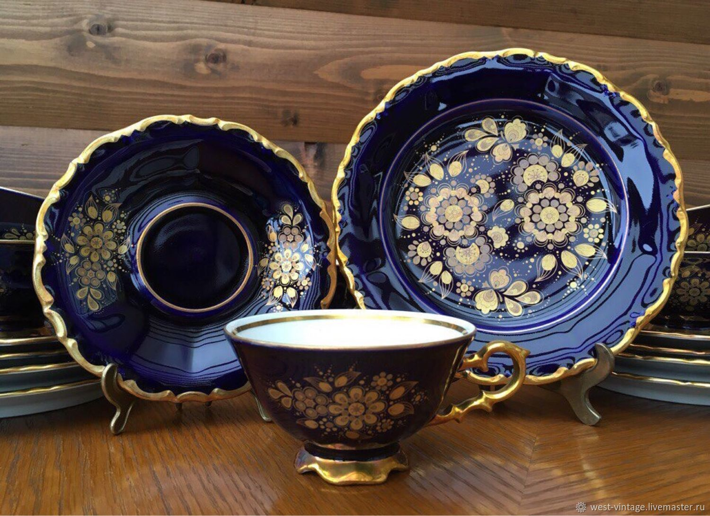Винтаж: Винтаж: Чайное трио Кобальт Waldershof Германия 6 штук, Сервизы винтажные, Калининград,  Фото №1
