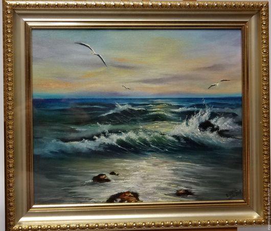 """Пейзаж ручной работы. Ярмарка Мастеров - ручная работа. Купить Картина """"Морской пейзаж"""". Handmade. Синий, море, закат на море"""