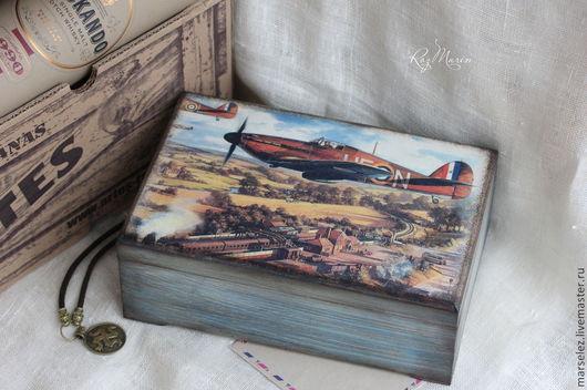 """Шкатулки ручной работы. Ярмарка Мастеров - ручная работа. Купить Шкатулка """"Авиатор"""". Handmade. Разноцветный, небо, коробка для хранения"""