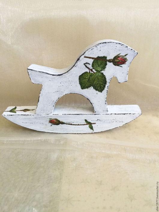 """Игрушки животные, ручной работы. Ярмарка Мастеров - ручная работа. Купить Деревянная лошадка- качалка """"Розы"""". Шебби шик. Винтаж. Handmade."""