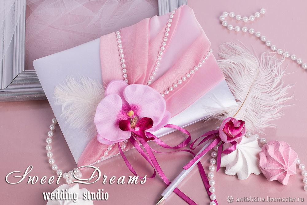 Оригинальная книга пожеланий в розовом цвете с цветком орхидеи