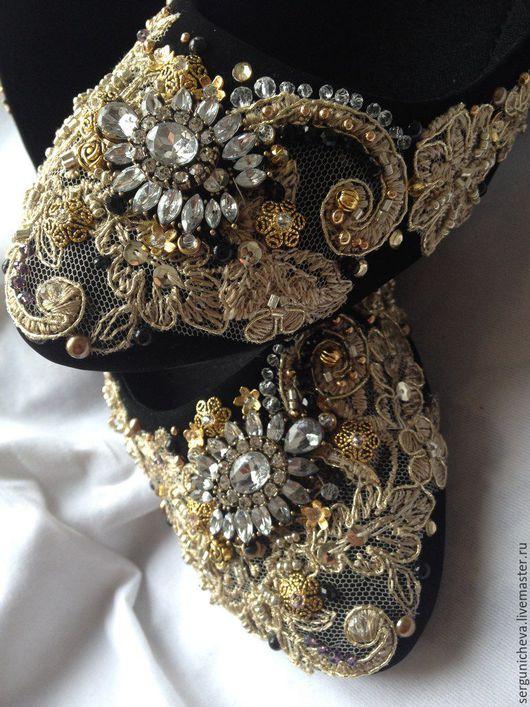 """Обувь ручной работы. Ярмарка Мастеров - ручная работа. Купить Балетки""""Тime Gatsby""""в стиле DG. Handmade. Великий гетсби, сверкающая"""