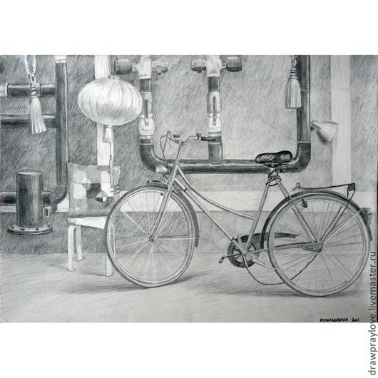 Город ручной работы. Ярмарка Мастеров - ручная работа. Купить Картина карандашом Велосипед и трубы. Handmade. Темно-серый, велосипед