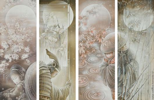Фантазийные сюжеты ручной работы. Ярмарка Мастеров - ручная работа. Купить Времена года. Handmade. Комбинированный, япония, сакура, солнце