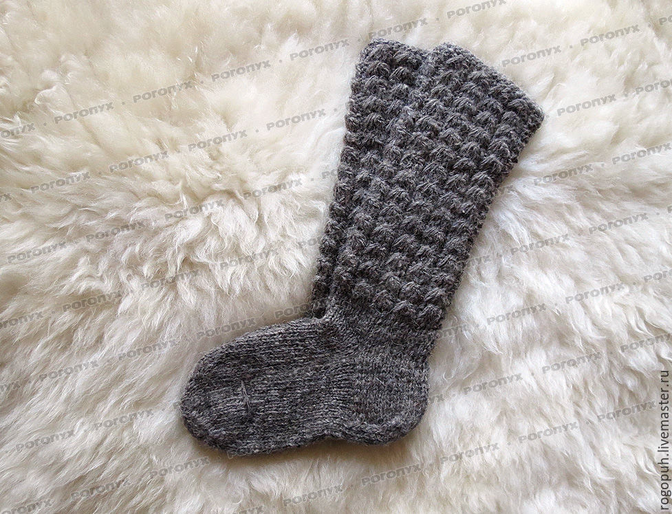 Socks knitted of natural sheep wool (grey), Knee, Nalchik,  Фото №1