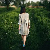 Платья ручной работы. Ярмарка Мастеров - ручная работа Льняное платье Вдох. Handmade.