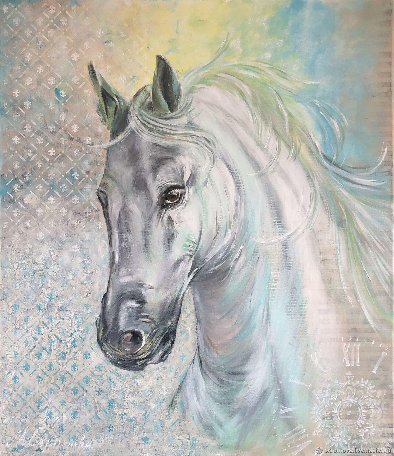 Oil Painting With A Horse Painting With A White Horse Kupit Na Yarmarke Masterov Mdc82com Kartiny Moscow
