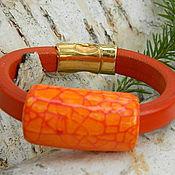 Украшения ручной работы. Ярмарка Мастеров - ручная работа Кожаный браслет Regaliz Оранжевый. Handmade.