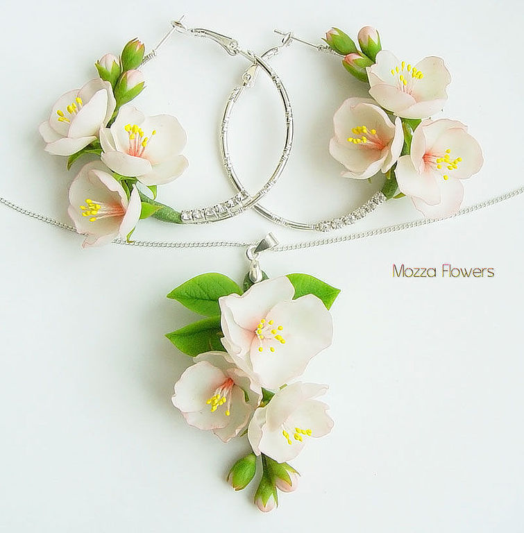 Set of polymer clay `Apple blossoms`, in soft pink color.