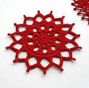 Для дома и интерьера ручной работы. Ярмарка Мастеров - ручная работа Набор декоративных салфеток красного цвета. Handmade.