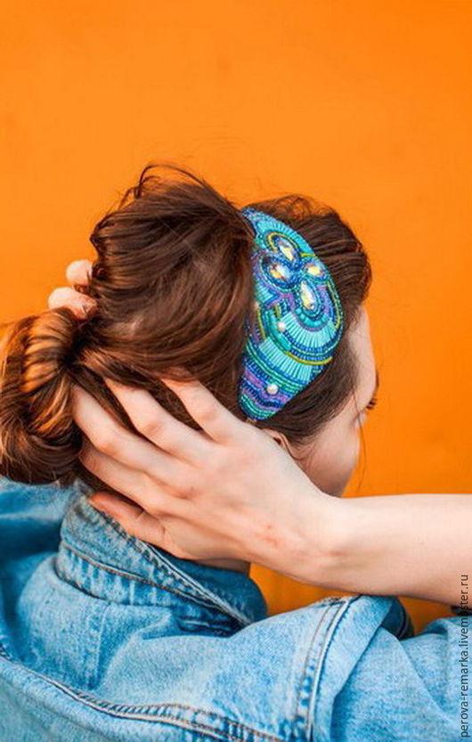 Повязки ручной работы. Ярмарка Мастеров - ручная работа. Купить Украшение для волос ручной работы. Handmade. Бирюзовый, для волос, украшение