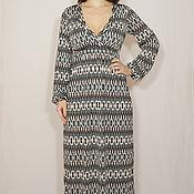 Одежда ручной работы. Ярмарка Мастеров - ручная работа РАЗМЕР 42-44 Платье в пол с длинным рукавом,геометрический принт. Handmade.