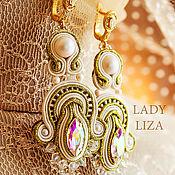 Украшения handmade. Livemaster - original item Bridal earrings, Soutache jewelry, bead Earrings, Vanilla. Handmade.