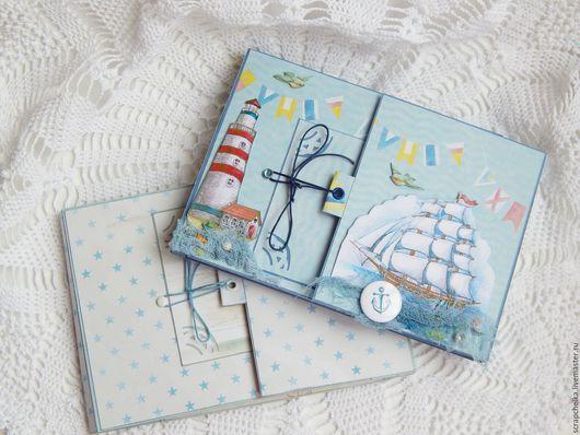 """Фотоальбомы ручной работы. Ярмарка Мастеров - ручная работа. Купить Альбом-""""Морское путешествие""""-миник. Handmade. Синий, фотоальбом для малыша"""