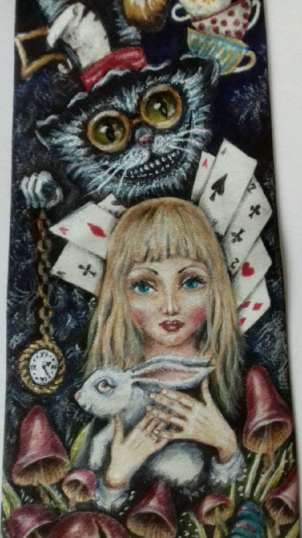 Corbata 'Alicia en el país de las maravillas' pintada a mano, Ties, Chelyabinsk,  Фото №1