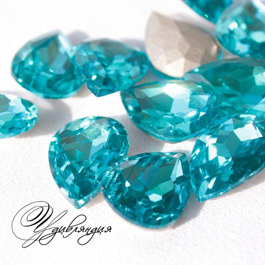 Для украшений ручной работы. Ярмарка Мастеров - ручная работа. Купить Кристаллы в стиле Сваровски, цвет Aquamarine Blue, 25x18 мм.. Handmade.