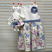 Работы для детей, ручной работы. Ярмарка Мастеров - ручная работа Летнее платье для девочки и кошечка. Handmade.