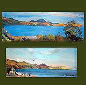 Картины и панно handmade. Livemaster - original item Two pictures. Crimea.Koktebel. Cape Chameleon. Handmade.