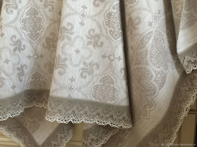 Linen tablecloth 'jacquard Grey, Tablecloths, Ivanovo,  Фото №1