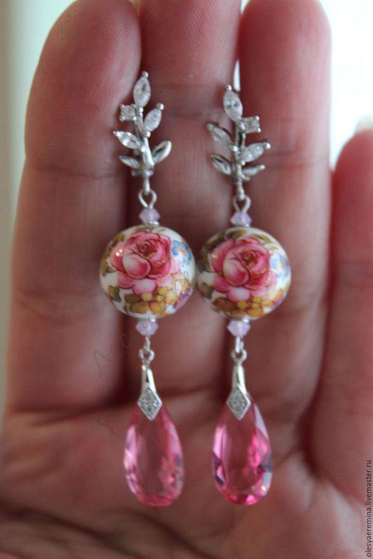 Серьги ручной работы. Ярмарка Мастеров - ручная работа. Купить Какая нежность...тенша.. цирконы.... Handmade. Розовый, розовые цветы