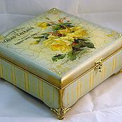 Для дома и интерьера handmade. Livemaster - original item Box of Yellow roses. Handmade.