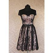 Одежда ручной работы. Ярмарка Мастеров - ручная работа Розовое вечернее платье с покрытием из черного кружева Беатрис. Handmade.
