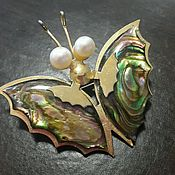 Винтаж ручной работы. Ярмарка Мастеров - ручная работа брошь бабочка капустница винтаж япония. Handmade.