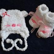 """Работы для детей, ручной работы. Ярмарка Мастеров - ручная работа Шапочка  и пинетки для новорожденной """"Мышонок"""". Handmade."""