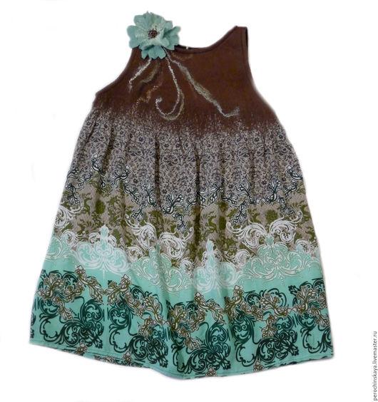 Платья ручной работы. Ярмарка Мастеров - ручная работа. Купить Платье детское «Бирюза». Handmade. Бирюзовый, платье, вискоза, войлок