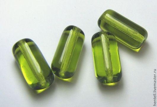Бусины-туба с отверстием в торце 14х7 мм\r\nЦвет - прозрачная зелень