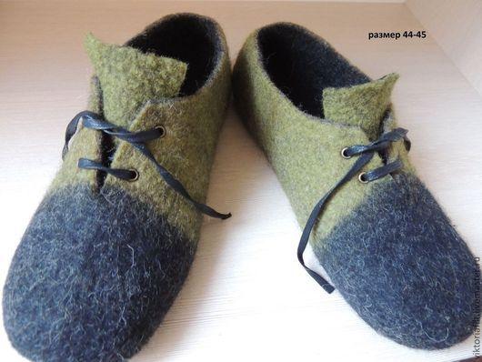 Обувь ручной работы. Ярмарка Мастеров - ручная работа. Купить Валяные тапочки(мужские). Handmade. Черный, домашняя обувь, Мокрое валяние