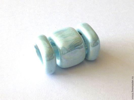 Для украшений ручной работы. Ярмарка Мастеров - ручная работа. Купить Керамические бусины для кожаных браслетов Regaliz нежно-голубые. Handmade.