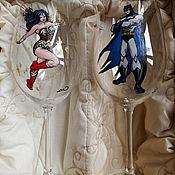 Подарки к праздникам ручной работы. Ярмарка Мастеров - ручная работа бокалы с росписью, подарок на свадьбу, упаковка. Handmade.
