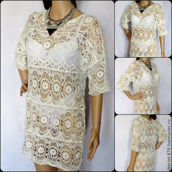 2677728cf918 Пляжное платье из хлопка, туника пляжная, летнее платье ажурная туника –  купить в ...