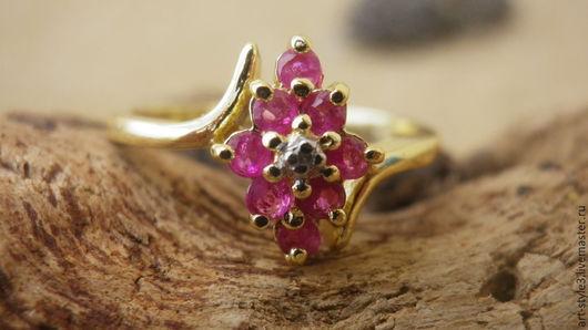 Кольца ручной работы. Ярмарка Мастеров - ручная работа. Купить Кольцо, рубины, алмаз, серебро 925 пробы, позолота. Handmade.