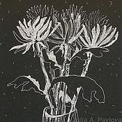 """Картины и панно ручной работы. Ярмарка Мастеров - ручная работа Картина """"Хризантемы. Встреча"""" картина графика цветы флора. Handmade."""