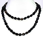 Работы для детей, handmade. Livemaster - original item Long necklace made of natural black agate. Handmade.