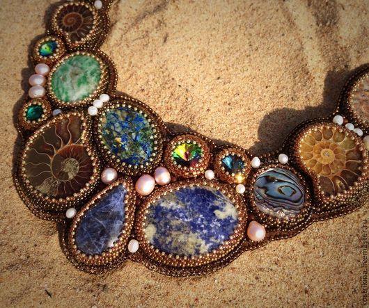 """Колье, бусы ручной работы. Ярмарка Мастеров - ручная работа. Купить Колье """"Глубины океана"""". Handmade. Синий, океан, хризоколла"""