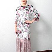 Одежда handmade. Livemaster - original item Evening dress elegant long floor-length pink-gray velvet. Handmade.