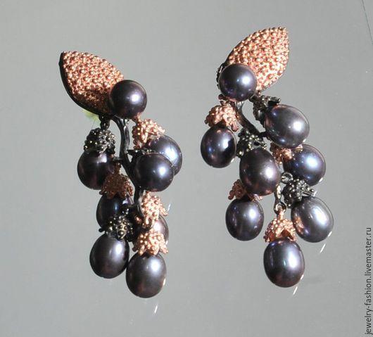 """Серьги ручной работы. Ярмарка Мастеров - ручная работа. Купить Серьги с черным жемчугом """"Гроздья винограда"""". Handmade. Черный, лондон"""