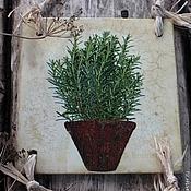Для дома и интерьера ручной работы. Ярмарка Мастеров - ручная работа эко-панно настенное декупаж зеленые травы листья  рустик. Handmade.